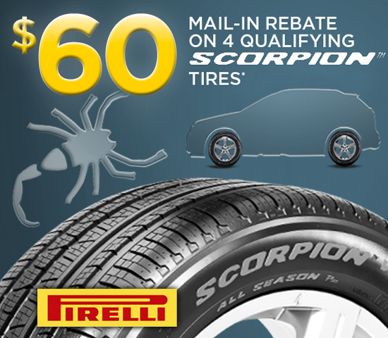 When you purchase qualifying Pirelli P Zero or Scorpion Tires, you may be eligible to receive a $70 Prepaid Mastercard® Card by mail-in-rebate. Offer valid on tires .