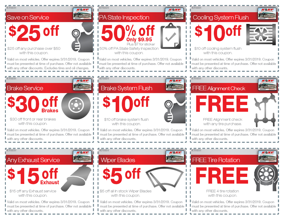 Oil Change Coupons Near Me >> Coupons | Kost Tire and Auto – Tires and Auto Service – Pennsylvania and New York